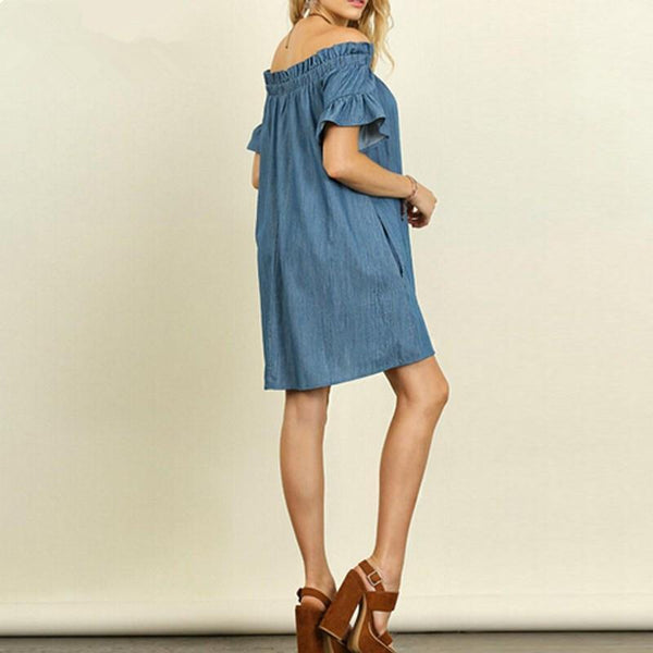 Off Shoulder Short Sleeve Denim Dress dress