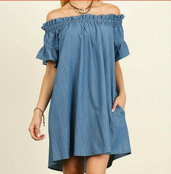 Off Shoulder Short Sleeve Denim Dress dress Light blue 4XL