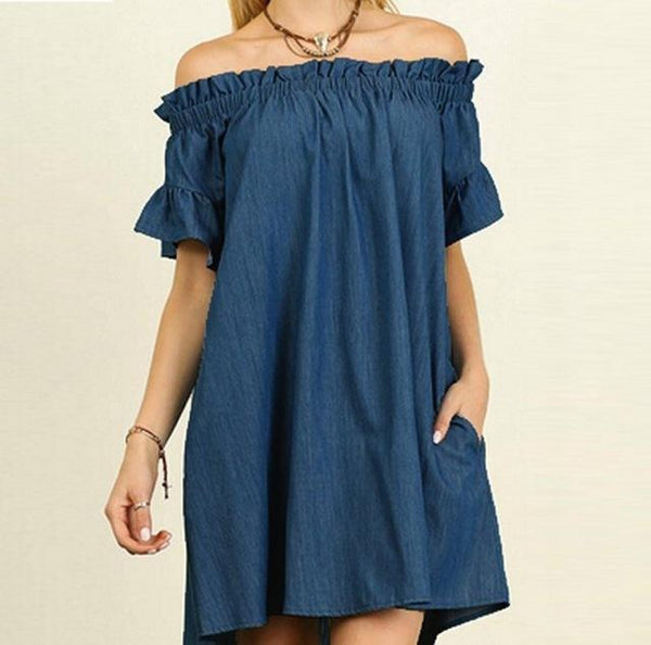 Off Shoulder Short Sleeve Denim Dress dress Navy blue 4XL