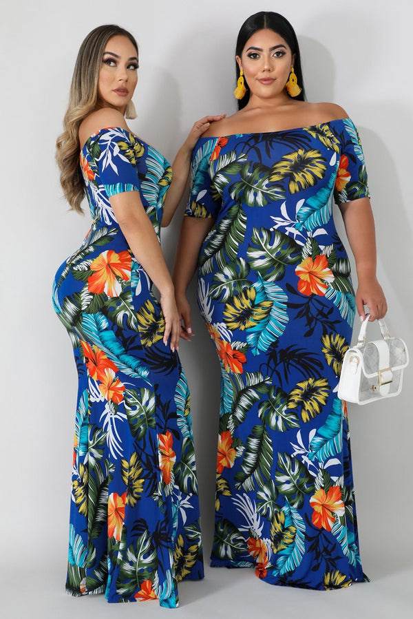 Off-the-shoulder Floral Print Plus Size Maxi Dress dress