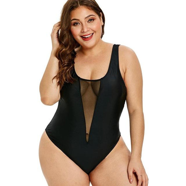 One Piece Sexy Casual Bathing Suit Swimsuit Black XXL