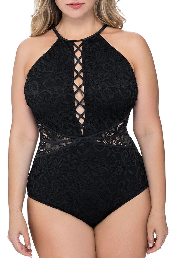 One Piece Tummy Control Swimsuit swimwear Black 1X