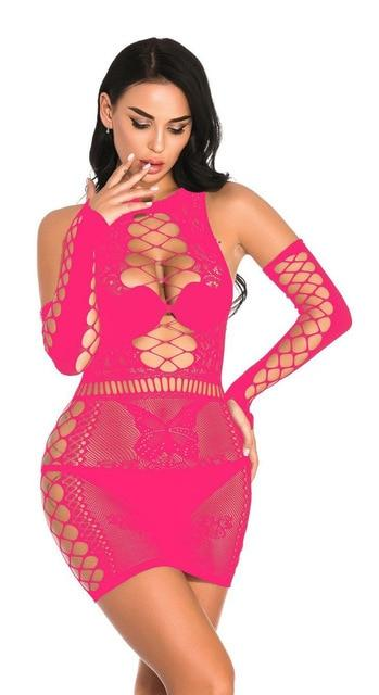 Open Crotch Tight Fishnet Lingerie Lingerie WM012 rose red S warehouse