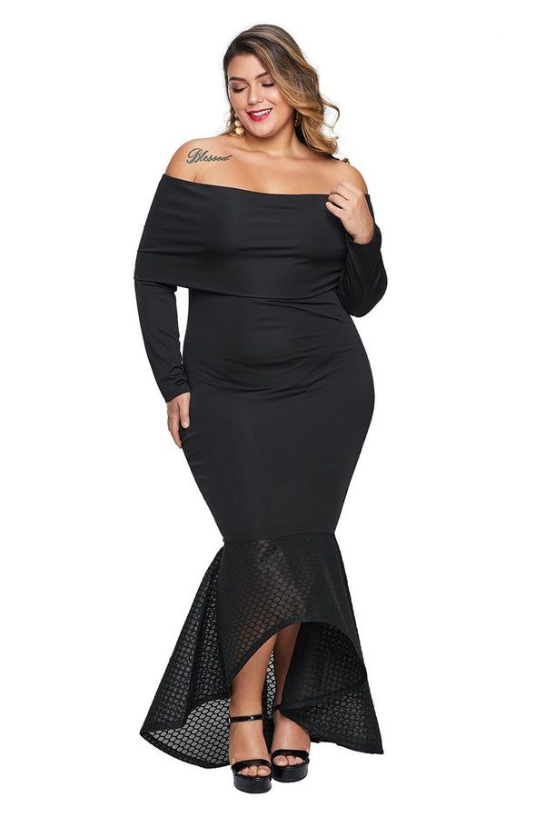 Overlay Off Shoulder Fishtail Plus Size Maxi Dress dress