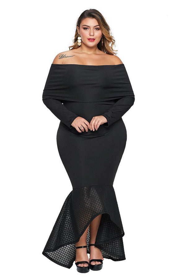 Overlay Off Shoulder Fishtail Plus Size Maxi Dress dress Black 1X