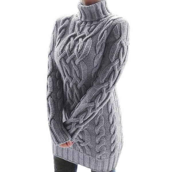 Oversized Turtleneck Sweater Dress Colors Sweaters M China Gray