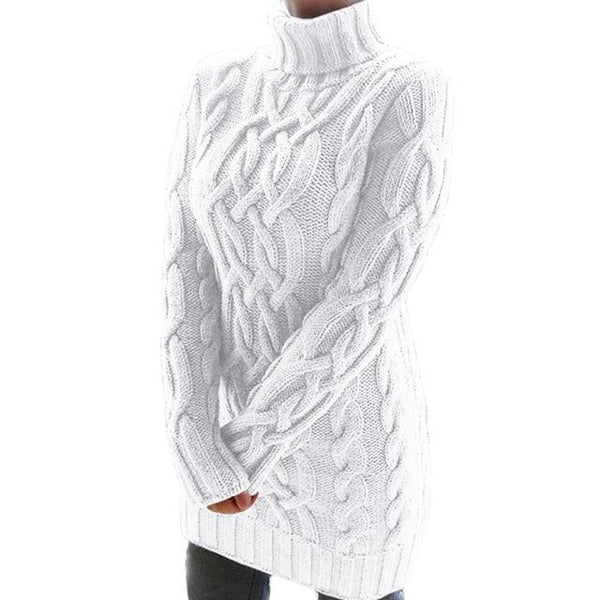 Oversized Turtleneck Sweater Dress Colors Sweaters M China White