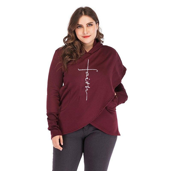 Oversized Women Faith Hoodies Sweatshirts Tops