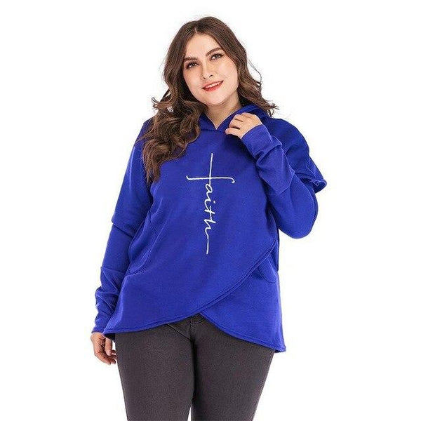 Oversized Women Faith Hoodies Sweatshirts Tops Blue 5XL
