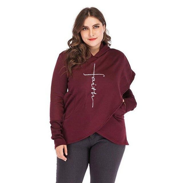 Oversized Women Faith Hoodies Sweatshirts Tops Burgundy L