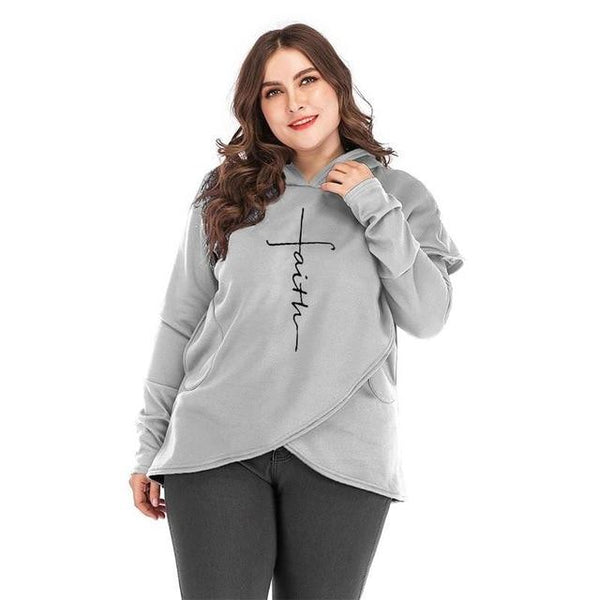 Oversized Women Faith Hoodies Sweatshirts Tops Gray L