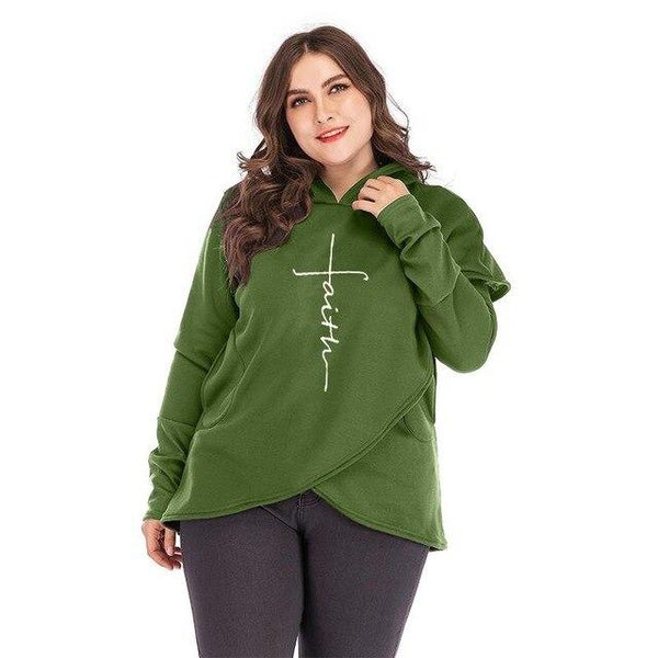 Oversized Women Faith Hoodies Sweatshirts Tops green 5XL