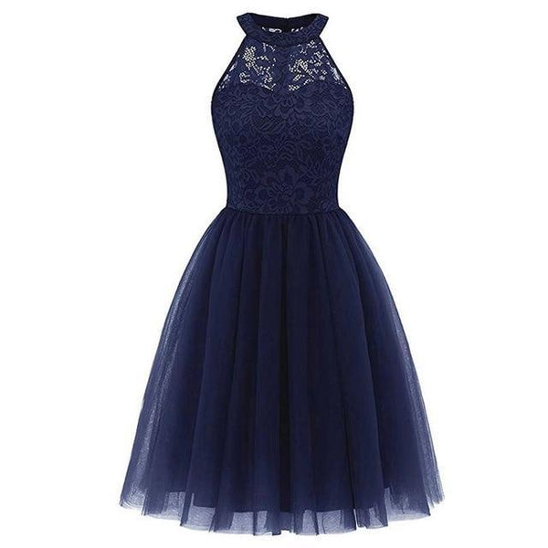 Party Prom Gown Long Back Short Front dress Azure blue 4