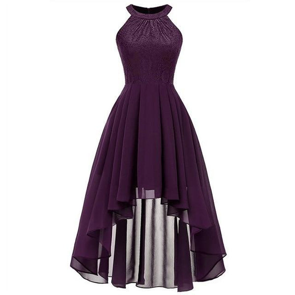 Party Prom Gown Long Back Short Front dress purple 4
