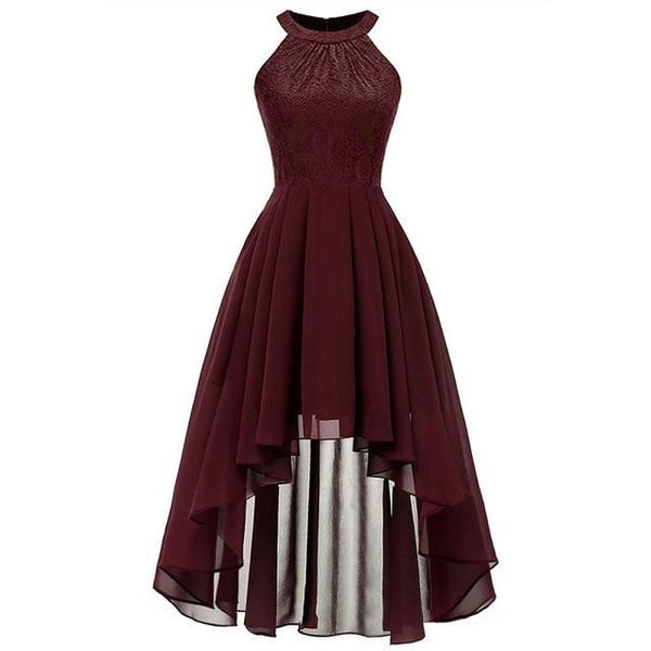 Party Prom Gown Long Back Short Front dress wine red 1 4