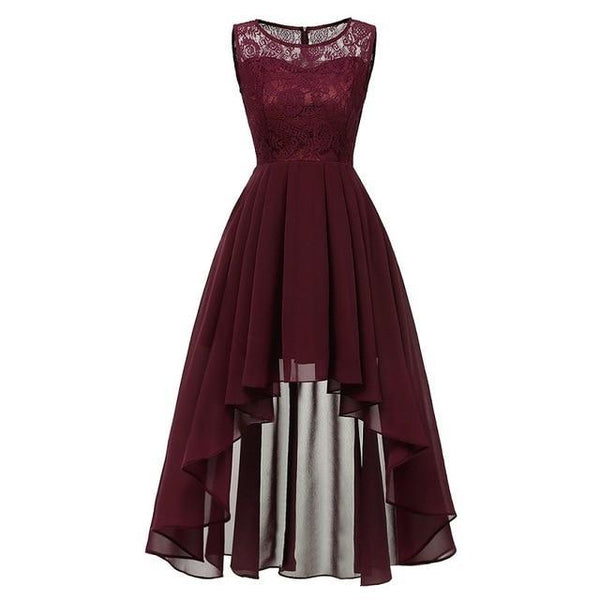 Party Prom Gown Long Back Short Front dress wine red 6