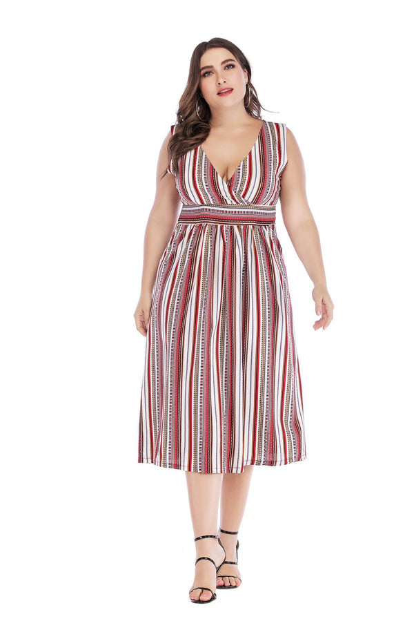 Party V Neck Stripe High Waist Beach Dress dress