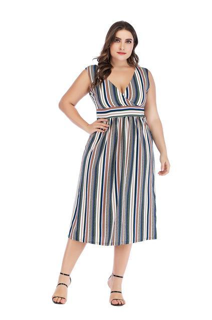 Party V Neck Stripe High Waist Beach Dress dress Blue 4XL
