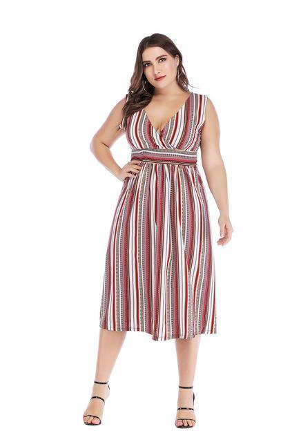 Party V Neck Stripe High Waist Beach Dress dress Red XXXL