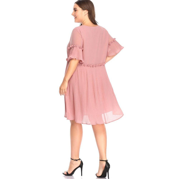 Pink Sweet Pleated Beach Dresses