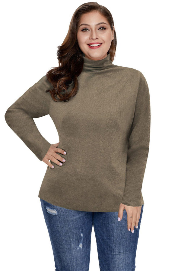 Plain Turtleneck Ribbed Plus Size Top Plus Size Tops