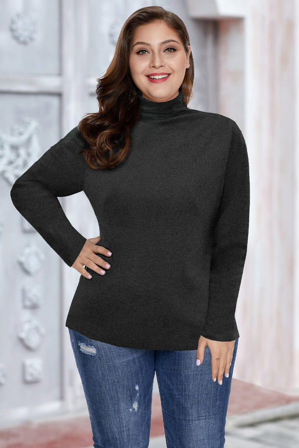 Plain Turtleneck Ribbed Plus Size Top Plus Size Tops Black XL