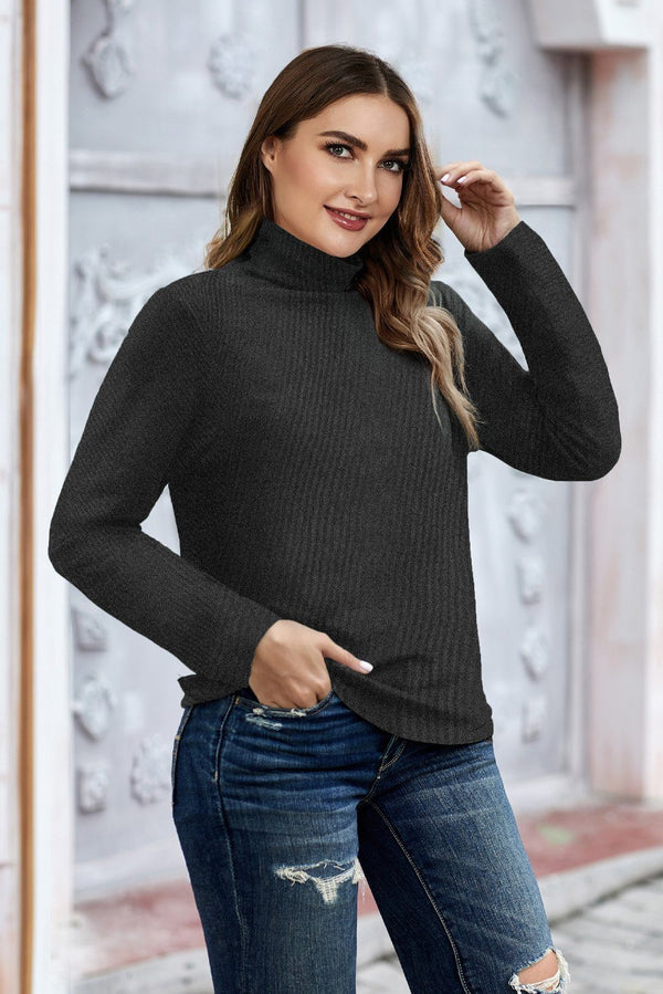 Plain Turtleneck Ribbed Plus Size Top Plus Size Tops Gray XL