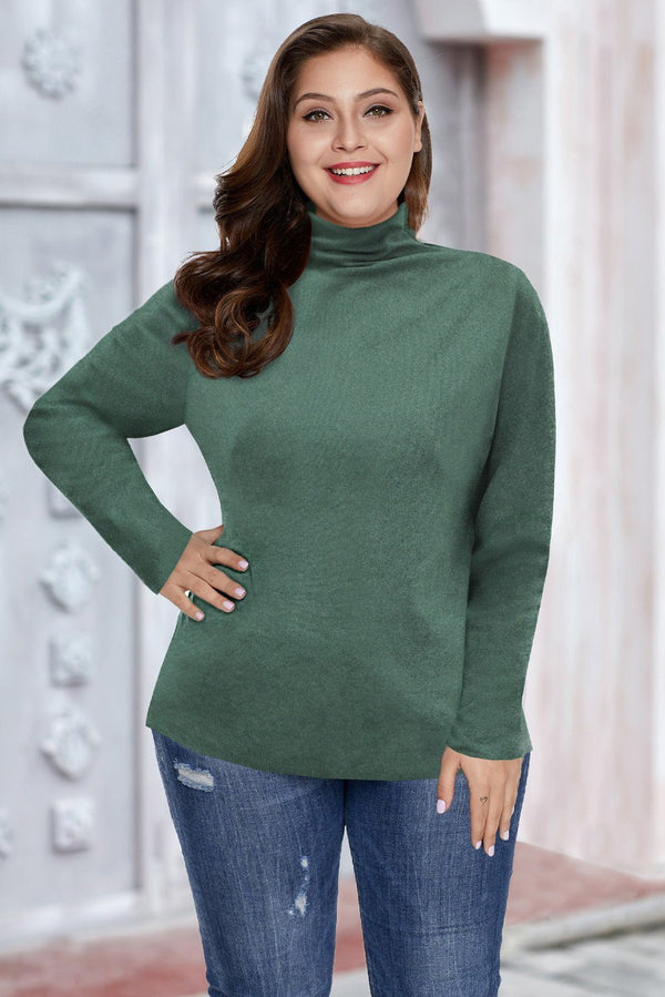 Plain Turtleneck Ribbed Plus Size Top Plus Size Tops Green XL