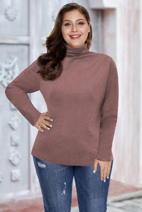 Plain Turtleneck Ribbed Plus Size Top Plus Size Tops Pink-1 XL