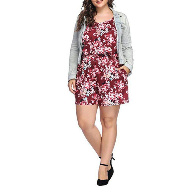 Playsuit Romper - Summer 2020 Plus Size Print Sleeveless rompers