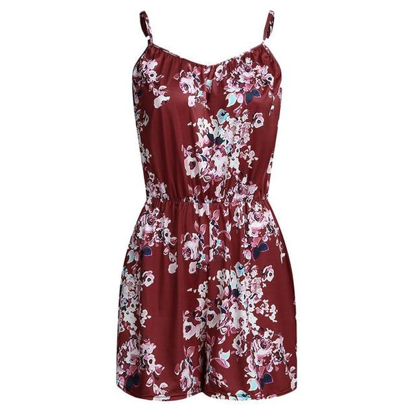 Playsuit Romper - Summer 2020 Plus Size Print Sleeveless rompers Red XXL