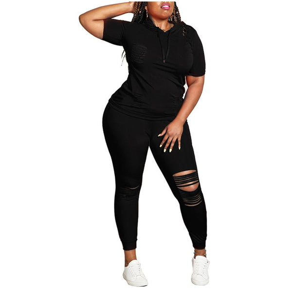 Plus Size 5XL Women's Short Sleeve Tracksuits Loungewear