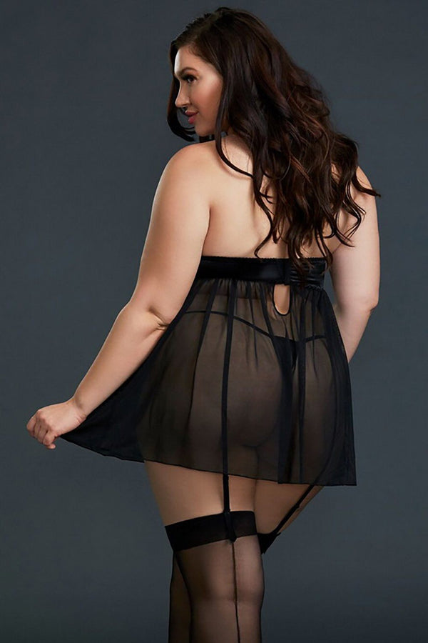 Plus Size Black Mesh & Venice Embroidery Lace Babydoll Plus Size Lingerie