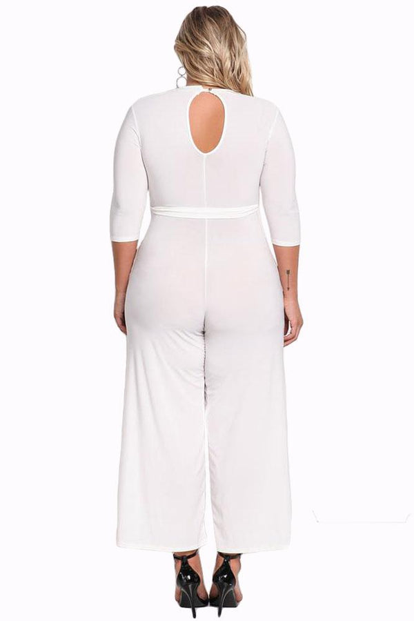 Plus Size Cut Out Wide Legged Jumpsuit Rompers