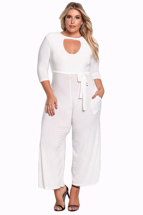 Plus Size Cut Out Wide Legged Jumpsuit Rompers White XL
