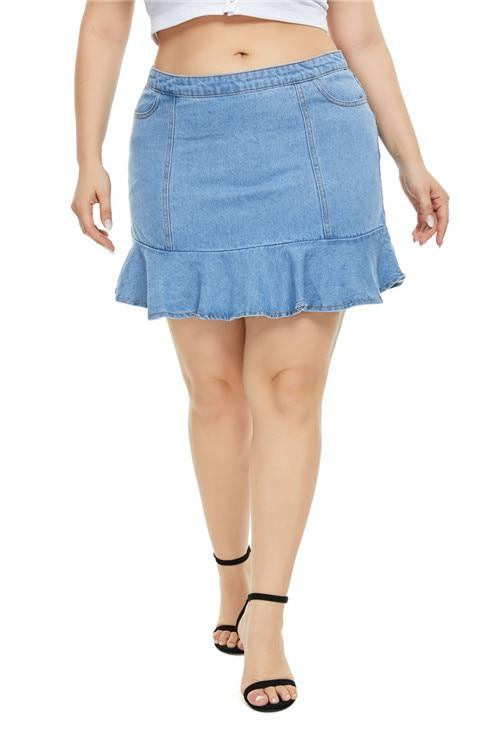 Plus Size Denim Skirt High Waist Ruffles skirts