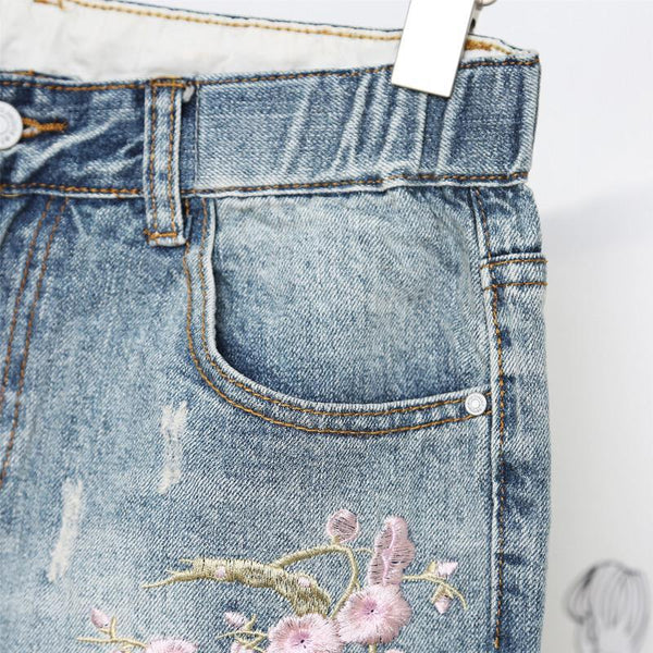 Plus Size Embroidered Ripped Denim Jeans jeans