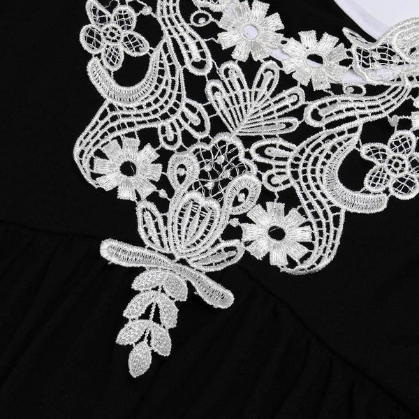 Plus Size Fashion Women Lace Appliques Cold Shoulder V-Neck Tee Top