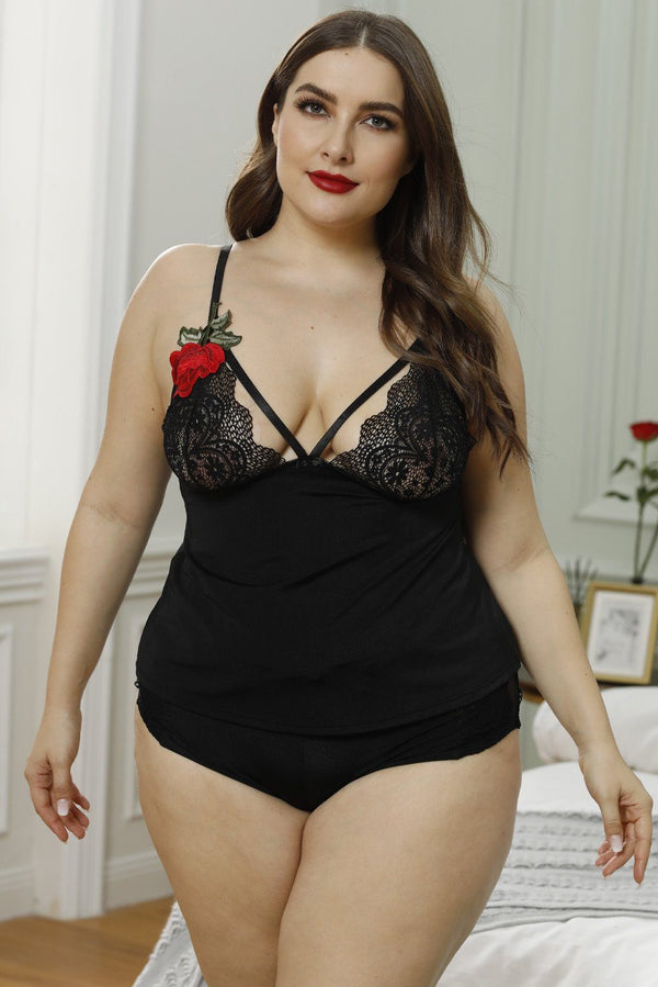 Plus Size Floral Embroidery Lace Cami Set Lingerie Black 1X
