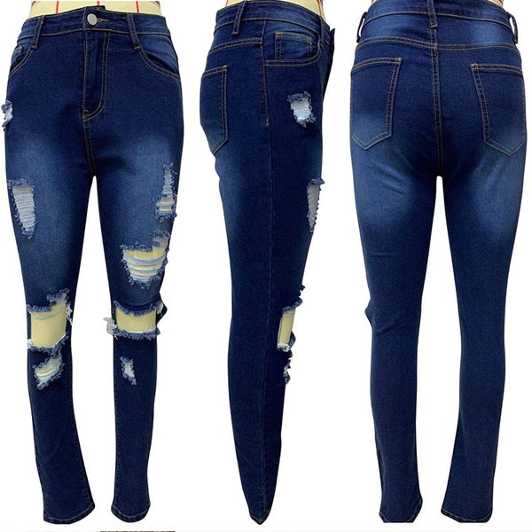 Plus Size Hole Fashion Jeans Tassel Hollow Elastic High Waist Denim pants