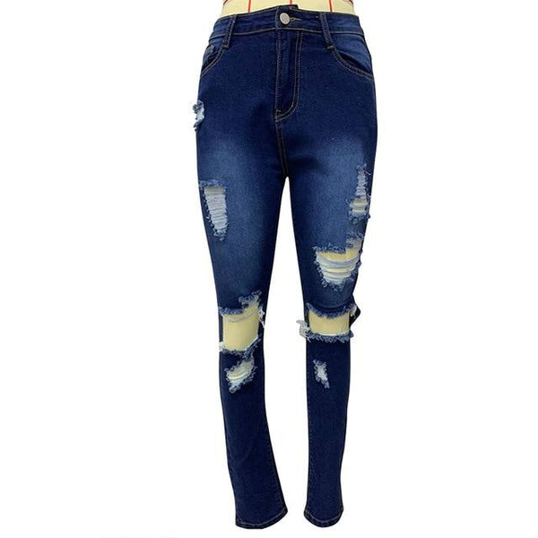 Plus Size Hole Fashion Jeans Tassel Hollow Elastic High Waist Denim pants Light blue S