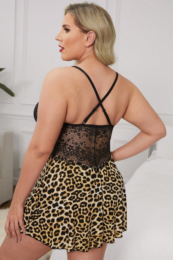 Plus Size Lace Bra Splicing Leopard Babydoll Plus Size Lingerie