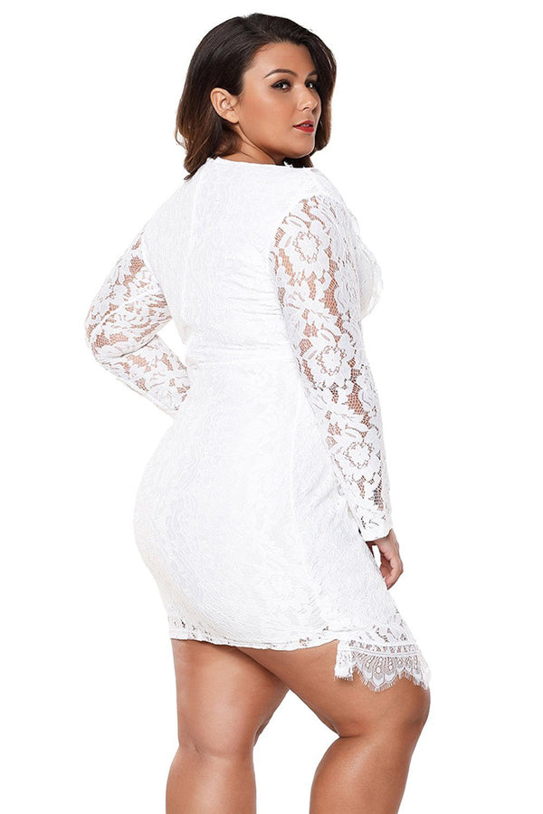 Plus Size Lace Faux Wrap Ruffle Dress dress