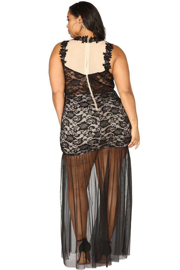 Plus Size Lace Maxi Dress with Tulle dress
