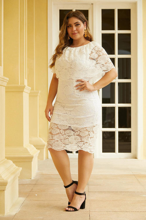 Plus Size Lace Overlay Dress dress