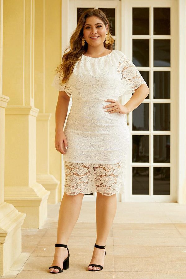 Plus Size Lace Overlay Dress dress White 1X