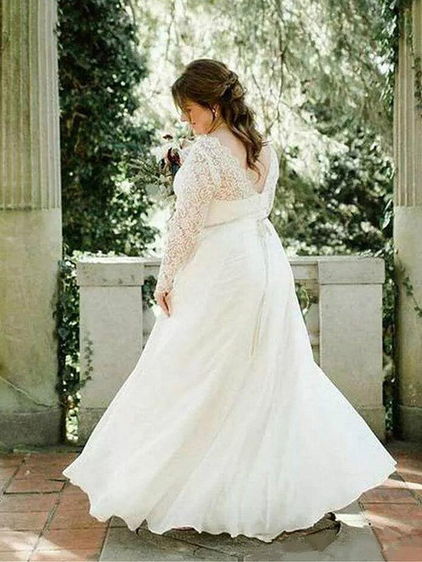 Plus Size Lace Wedding Dress Long Sleeve Crystals wedding dress