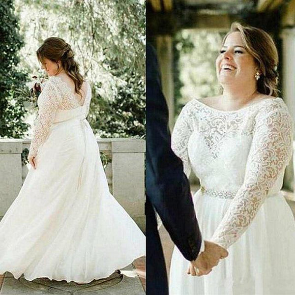 Plus Size Lace Wedding Dress Long Sleeve Crystals wedding dress Ivory 14