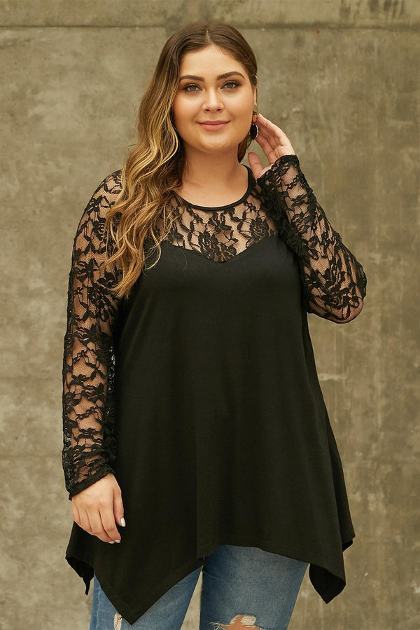 Plus Size Lace Yoke Stitching Asymmetic Hemline Top Tops