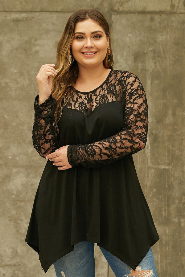 Plus Size Lace Yoke Stitching Asymmetic Hemline Top Tops Black 1X